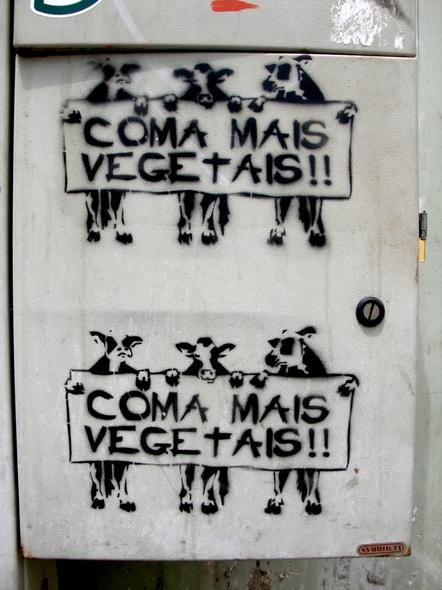 Coma mais vegetais!! Stencil. Curitiba